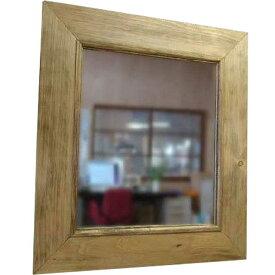 太枠ミラー アンティークブラウン w45d2h50cm 壁掛け 木製 ひのき オーダーメイド 1220163 1213019