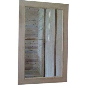 太枠ミラー 無塗装白木 w60d2h100cm 鏡 木製 ひのき オーダーメイド 1220163 1213019