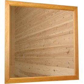 スクエアミラー 正方形 ナチュラル w70d2h70cm 鏡 ひのき 木製 オーダーメイド