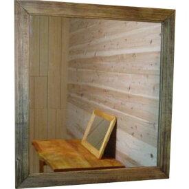 ミラー 壁掛け アンティークブラウン w50d2h55cm 木製 ひのき オーダーメイド 1220163 1213019