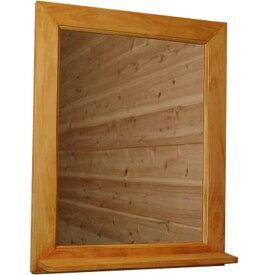 ミラーシェルフ ナチュラル w40d9h50cm ウォールシェルフ 木製 ひのき オーダーメイド 1220163 1213019