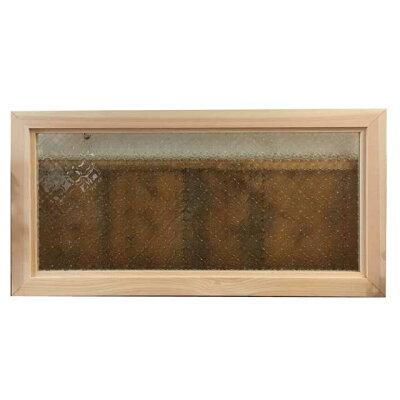 FIX窓・室内窓木製ひのき無塗装白木フローラガラスの室内窓フィックス窓両面仕様70×35cm・厚み3.5cm北欧