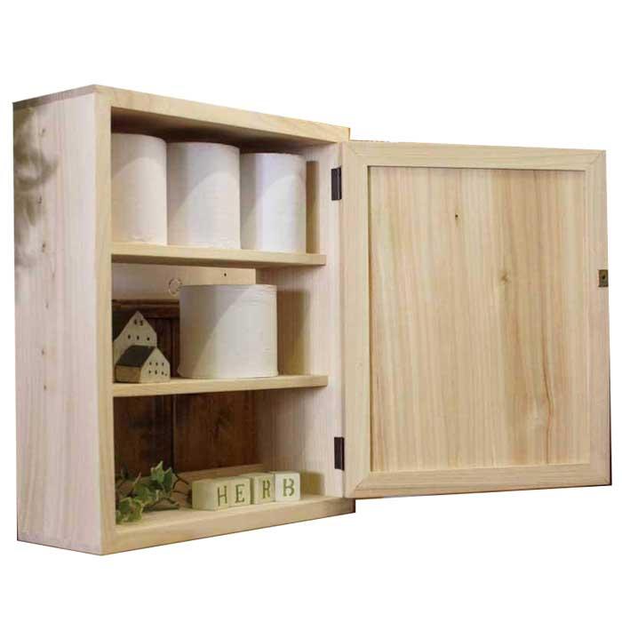 トイレットペーパーキャビネット 木製 ひのき 木製扉 ニッチ用 三段仕様 38×14×46cm 無塗装白木 受注製作