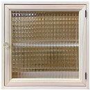 キャビネット無塗装白木36×14×36cmチェッカーガラス片開き扉パンプキンノブ二段棚仕様木製ひのきハンドメイドオーダーメイド