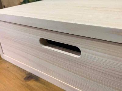 ドロワー隙間収納引き出し無塗装白木50×30×15cmDVD・ブルーレイレコーダー台にも木製ひのきハンドメイドオーダーメイド