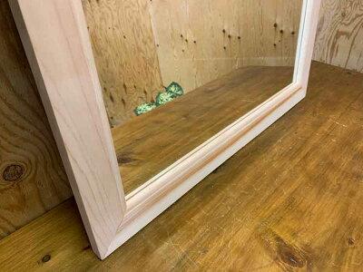 ウッドミラー壁掛け無塗装白木60×2×70cm吊り下げ金具付き縦型木製ひのきハンドメイドオーダーメイド