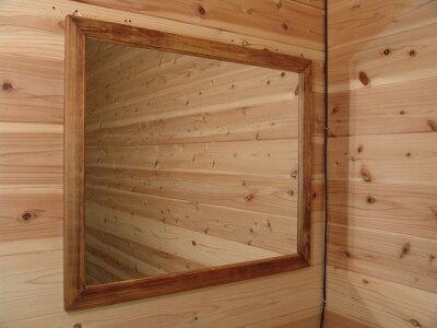 ミラー横型アンティークブラウンw70d2h60cm吊り下げ金具大型木製ひのきハンドメイドオーダーメイド