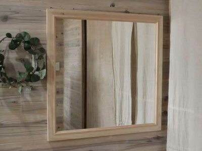 無塗装白木◇ひのきの木製正方形ミラー◇鏡(70×70cm)