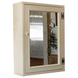 ミラーキャビネット 木製 ひのき ミラー扉の木製キャビネットシェルフ 全面ミラータイプ背板つき 45×15×60cm (アンティークホワイト) オーダーメイド 1134626