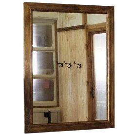 ミラー 鏡 吊り下げ金具付 アンティークブラウン w50d2h65cm 木製 ひのき オーダーメイド