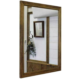 ミラー 吊り下げ金具付 アンティークブラウン w60d2h70cm 壁掛け 木製 ひのき オーダーメイド