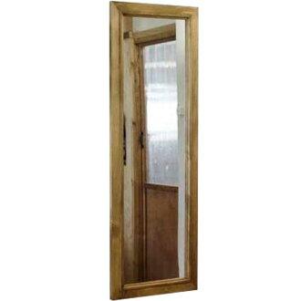 Mirror wooden Cypress slim Miller looking glass mirror wall mirror 33 × 2 × 98 cm antique brand order