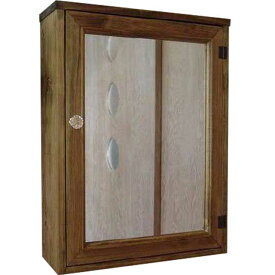 ミラー扉 キャビネットシェルフ アンティークブラウン w45d15h60cm パンプキンノブ 木製 ひのき オーダーメイド