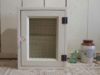 供復古的白◇法國製造查對者玻璃的南瓜把手鑰匙包◇20*10*25cm(角型型·磁鐵式樣)壁龕使用的埋入型