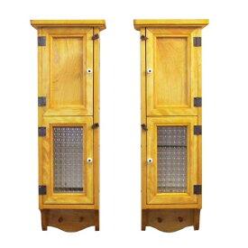 スリムキャビネット 木製 ひのき 2個セット 木製扉&チェッカーガラス扉のスリムキャビネット 高さ60cm ペグ付き 壁掛けキャビネット ナチュラル オーダーメイド