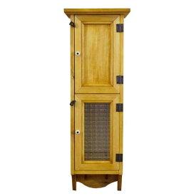 スリムキャビネット 木製 ひのき チェッカーガラス扉&木製扉 ペグつき 壁掛けキャビネット 20×15×60cm ナチュラル オーダーメイド 1134626