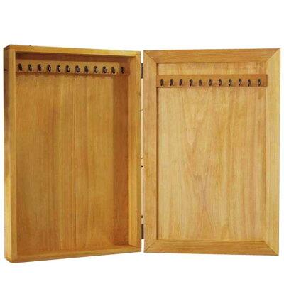 アクセサリーケース木製ひのきナチュラル壁掛けフック付きジュエリーケース28×7×42cm