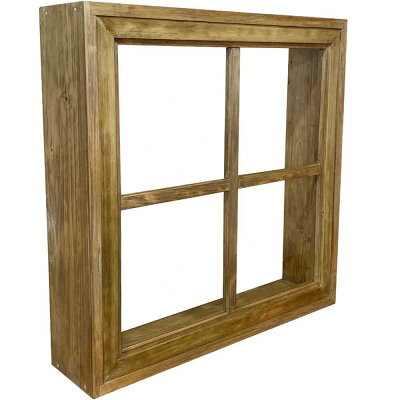 フィックス窓アンティークブラウン60×14×60cm透明ガラス両面桟入り窓枠つき木製ひのきハンドメイドオーダーメイド