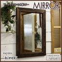 ミラー 木製ひのき アンティーク調家具 木製フレームミラー 鏡 壁掛けミラー 35×2×50cm ダークブラウン 受注製作
