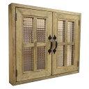 室内窓 採光窓 木製 ひのき アンティークブラウン フランス製チェッカーガラス扉 53×45×6センチ 扉厚み3センチ マグネット 両面仕様 …