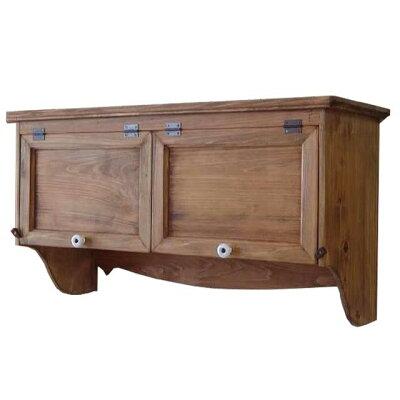 吊り戸棚横型キャビネット木製ひのきダブル扉アンティークブラウンキッチンキャビネット72×27×40cm壁掛けタイプ