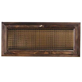 キャビネット 横型 w60d15h26cm ダークブラウン チェッカーガラス 上置き収納棚 木製 ひのき オーダーメイド 1220163 1213019