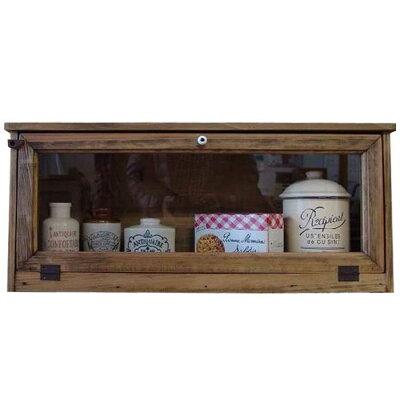 キャビネット木製ひのきアンティーク調家具透明ガラス扉横型キャビネット見せる収納おうちカフェ60×18×26cmアンティークブラウン