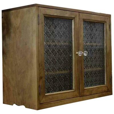 キャビネット木製ひのきアンティーク調家具フローラガラス扉パンプキンノブ棚可動式置き型キャビネット50×23×41cmアンティークブラウン