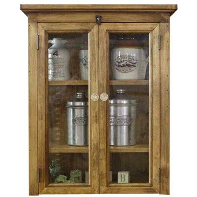 キャビネット木製ひのきアンティーク調家具透明ガラス扉側面チェッカーガラスパンプキンノブ棚可動式置き型キャビネット42×25×51cmアンティークブラウン