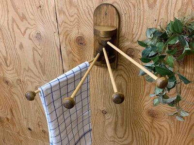 ふきんかけボール型w9d34h23cmアンティークブラウン4本タイプ木製ひのきハンドメイドオーダーメイド