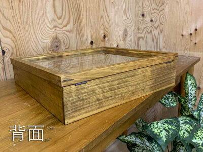 アクセサリーケーストレイつきアンティークブラウン38×35×10cm傾斜タイプ掛け金付きつまみなし木製ひのきオーダーメイド