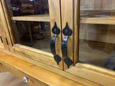 横型キャビネットアンティークブラウンw120d30h50cmキッチン吊り戸棚透明ガラス扉木製ひのきオーダーメイド