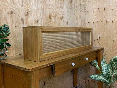 キッチンカウンター上収納90x17x25cmアンティークブラウンチェッカーガラスキッチン見せる収納ボックススパイスラック木製ひのきハンドメイドオーダーメイド
