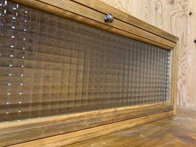 キャビネットチェッカーガラス70×23.5×26cmアンティークブラウン横型キッチンカウンター上収納木製ひのきハンドメイドオーダーメイド