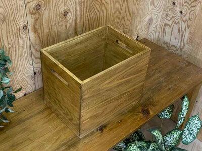 木箱アンティークブラウン35×25×28cm収納箱カントリーウッドボックス木製ひのきハンドメイドオーダーメイド