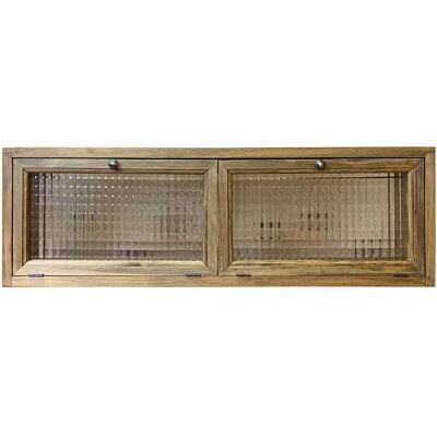 横型キャビネットチェッカーガラスアンティークブラウン80×15×26cm真鍮つまみダブル扉木製ひのきハンドメイドオーダーメイド
