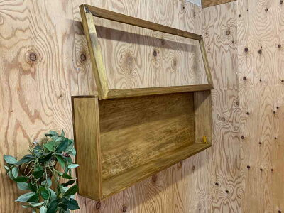コレクションケースアンティークブラウン80×10×30.5cm透明ガラス扉棚なし木製ひのきハンドメイドオーダーメイド