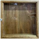 コレクションケース透明ガラス扉アンティークブラウン40×10×40cmフック付き木製ひのきハンドメイドオーダーメイド