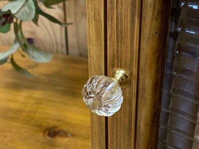 キーボックスアンティークブラウン20×7×20cmチェッカーガラスパンプキンノブニッチ用木製ひのきハンドメイドオーダーメイド
