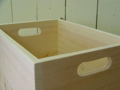 ウッドボックス木箱無塗装白木カントリー33×23×20cm収納箱木製ひのきハンドメイドオーダーメイド