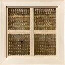 フィックス窓チェッカーガラスの室内窓片面十字桟入り36×3.5×36cm無塗装白木北欧木製ひのきハンドメイドオーダーメイド