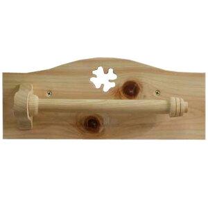 タオルハンガー 薄型 無塗装白木 w27d6h11cm クローバーくりぬき 木製 ひのき オーダーメイド 1509042
