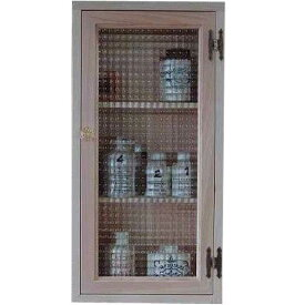 無塗装白木 チェッカーガラスのキャビネット背板つき パンプキンノブ・マグネット仕様(30×10×60cm)(ニッチ用埋め込みタイプ) 北欧 オーダーメイド