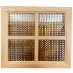室内窓無塗装白木チェッカーガラス片面桟入り40x2x35cm木製ひのきハンドメイド受注製作