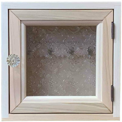 キーボックス無塗装白木20×7×20cmフローラガラスフック4個パンプキンノブニッチ用木製ひのきハンドメイドオーダーメイド