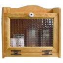 ブレッドケース チェッカーガラス扉 w35d25h32cm ナチュラル 木製 ひのき オーダーメイド 1191921