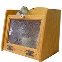 ブレッドケース 木製 ひのき フローラガラス扉 35cm×25cm×32cm ナチュラル 受注製作