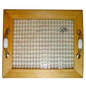 トレイ チェッカーガラス w35d30h5.5cm ナチュラル 真鍮持ち手 ウッドトレイ 木製 ひのき オーダーメイド 1191921