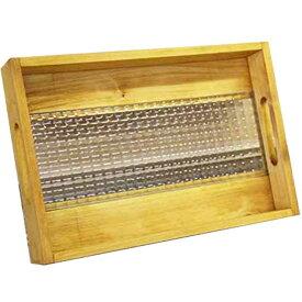 トレイ 底面ガラス ナチュラル w37d25h5.5cm チェッカーガラス BOX型 木製 ひのき オーダーメイド 1191921