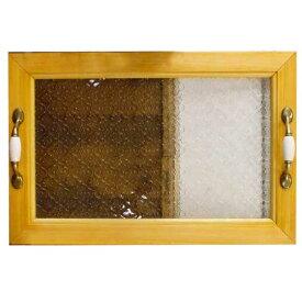 トレイ フローラガラス w45d30h5.5cm ナチュラル 真鍮持ち手 ウッドトレイ 木製 ひのき オーダーメイド 1191921 楽ギフ_包装 楽ギフ_のし 楽ギフ_メッセ